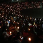 Candle light vigil for victims in the sinking of the ferry Sewol in Ansan