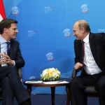 Russian President Vladimir Putin meets with Dutch Prime Minister Mark Rutte during the annual International Economic Forum in St. Petersburg