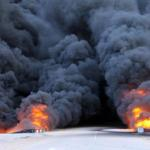 Recently attacked fuel depot in Libya continues to burn