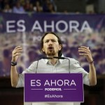 Pablo Iglesias, the Secretary General of the Spanish Podemos party, delivers a speech during an election campaign rally in Alicante, eastern Spain, 16 May 2015. Spain will hold regional elections on 24 May 2015. Slogan on rostrum reads: 'It is now'.  ANSA/MANUEL LORENZO