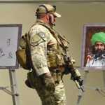 Heavily armed police secure art work before the Dutch member of parliament and leader of the far-right Party for Freedom, Geert Wilders delivers the keynote address at the Muhammad Art Exhibit and Contest at the Curtis Culwell Center in Garland, Texas, USA, 03 May 2015. The art exhibit is being put on by the Pamela Geller's American Freedom Defense Initiative.  ANSA/LARRY W. SMITH