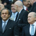 UEFA President Michel Platini (L) and FIFA President Sepp Blatter pictured before the semi final match of the UEFA EURO 2012 between Germany and Italy in Warsaw, Poland, 28 June 2012.   ANSA/OLIVER WEIKEN