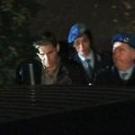 L'uscita di Salvatore Parolisi (S) dal tribunale di Teramo, dopo la condanna all'ergastolo nel processo per l'omicidio della moglie Melania Rea, 26 ottobre 2012.  ANSA/SCHIAZZA/DI ANTONIO