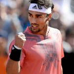 Fabio Fognini of Italy reacts as he plays against Grigor Dimitrov of Bulgaria during their match for the Italian Open tennis tournament at the Foro Italico in Rome, Italy, 13 May 2015. ANSA/CLAUDIO ONORATI