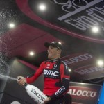 Belgian Philippe Gilbert of the BMC team celebrates on the podium of the 12th stage of the 98th Giro dItalia, Tour of Italy, cycling race between Imola and Vicenza, 21 May 2015. ANSA/CLAUDIO PERI