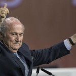 FIFA president Sepp Blatter after his election as President at the Hallenstadion in Zurich, Switzerland, Friday, May 29, 2015. Blatter has been re-elected as FIFA president for a fifth term, chosen to lead world soccer despite separate U.S. and Swiss criminal investigations into corruption. The 209 FIFA member federations gave the 79-year-old Blatter another four-year term on Friday after Prince Ali bin al-Hussein of Jordan conceded defeat after losing 133-73 in the first round.  (Patrick B. Kraemer/Keystone via AP)
