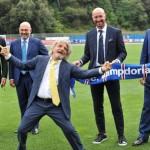 Italian head coach of Sampdoria Walter Zenga (II from R) poses with Massimo Ferrero (C), Sampdoria's President, during his presentation at Bogliasco Sports Center in Genoa, 12 June 2015. ANSA/ZEGGIO