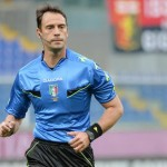 Referee Claudio Gavillucci during their Serie A soccer match Genoa-Parma at the Luigi Ferraris stadium in Genoa, Italy, 15  april 2015. ANSA/LUCA ZENNARO