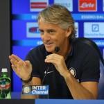 L'allenatore dell'Inter Roberto Mancini al centro sportivo Angelo Moratti, ad Appiano Gentile (Como) durante la conferenza stampa che ha tenuto in occasione del raduno della formazione neroazzurra, 3 luglio 2015. ANSA / MATTEO BAZZI
