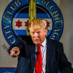 epa04824336 Businessman and Republican presidential candidate Donald Trump speaks at a meeting of the City Club of Chicago in Chicago, Illinois, USA, 29 June 2015. Trump told a crowd of about 350 business and civic leaders that he is the one to make America strong and great again. The club reported it had request for up to 5,000 tickets to the event.  EPA/TANNEN MAURY