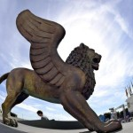 A winged lion statue, the Golden Lion of the Venice Film Festival, stands outside the Cinema Palace during the 71st annual Venice Film Festival at the Lido in Venice, Italy, 30 August 2014. The 71st edition of the festival will run from 27 August to 06 September. ANSA/CLAUDIO ONORATI