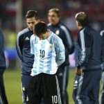 epa04831836 Argentina's Lionel Messi (C) reacts at the end of the Copa America 2015 final soccer match between Chile and Argentina, at Estadio Nacional Julio Martinez Pradanos in Santiago de Chile, Chile, 04 July 2015. Chile won the match in the penalty shoot-out.  EPA/MARIO RUIZ