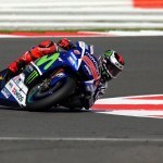 epa04901961 Spanish MotoGP rider Jorge Lorenzo of Movistar Yamaha MotoGP in action during a free practice session of the British Motorcycling Grand Prix at Silverstone race track, Northamptonshire, central England, 28 August 2015.  EPA/TIM KEETON