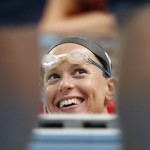 epa04868583 Federica Pellegrini of Italy is pictured during a training session 1 day prior to the start of the swimming competition during the FINA Swimming World Championships at Kazan arena in Kazan, Russia, 1 Auguat 2015.  EPA/PATRICK B. KRAEMER