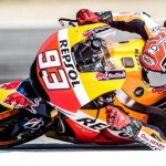 epa04883098 Honda Moto GP rider Marc Marquez  of Spain in action during the first free practice session of the Motorcycling Grand Prix of the Czech Republic at Masaryk circuit in Brno, Czech Republic, 14 August 2015. The Czech MotoGP race will take place on 16 August 2015.  EPA/FILIP SINGER