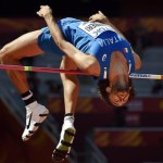 epa04901283 Italy's Gianmarco Tamberi competes during the men's High Jump qualification of the Beijing 2015 IAAF World Championships at the National Stadium, also known as Bird's Nest, in Beijing, China, 28 August 2015.  EPA/FRANCK ROBICHON