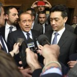 Ac Milan president Silvio Berlusconi (L) and Thai businessman Mr Bee Taechaubol (R) deliver a speech at the end of their meeting in Milan, Italy, 2 May 2015. ANSA/ FLAVIO LO SCLAZO