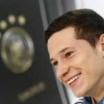 Julian Draxler of soccer club Schalke 04 answers journalists' questions at a press conference in Essen (North Rhine Westphalia), Germany, 13 October 2014. He gave an outlook for the next EURO 2016 qualifier against Ireland in Gelsenkirchen on 14 October 2014.  ANSA/Roland Weihrauch