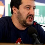 "Northern League leader Matteo Salvini speaks during a press conference focused on the results of regional elections, Milan, Italy, 01 June 2015. Northern League leader Matteo Salvini on Monday warned Premier Matteo Renzi that his party was aiming for victory at the national level after its Governor Luca Zaia held Veneto and the right-wing group performed well in other regional contests on Sunday. ""Renzi, we are coming,"" said Salvini, whose party did well in Tuscany and other places outside its traditional strongholds. ANSA/ MOURAD BALTI"