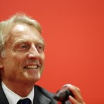 The outgoing head of Ferrari, Luca di Montezemolo, speaks at the presentation of the Ferrari 458 Speciale A, an open-topped version of its mid-engined sports car, during the Paris Motor Show 'Mondial de l'Automobile' in Paris, France, 02 October 2014. The Paris Motor Show, which takes place every two years, runs from 04 to 19 October 2014 with international car makers presenting their latest models and studies.  ANSA/IAN LANGSDON