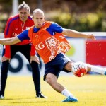 epa04909021 Arjen Robben of the Dutch national soccer team fires a shot as in the background assistant coach Marco van Basten looks on during a training session in the Amsterdam Arena, Amsterdam, the Netherlands, Wednesday September 02 2015, in preparation of the UEFA EURO 2016 qualifying match against Iceland.  EPA/ROBIN VAN LONKHUIJSEN