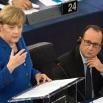 epa04967375 German Chancellor Angela Merkel (L) delivers her speech next to French President Francois Hollande at the European Parliament in Strasbourg, France, 07 October 2015.  EPA/PATRICK SEEGER