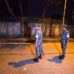 epa04955401 A picture made available 28 September 2015 shows Bangladeshi security officials standing close to the spot where Tavella Cesare, a 50-year-old Italian aid worker, was shot dead at Gulshan in Dhaka, Bangladesh, 29 September 2015. Islamic State terrorists said they were behind the shooting of an Italian man in Dhaka, in what would be the first known attack by the extremist group in Bangladesh. 'We are working on checking the claim by IS,' Italian Foreign Minister Paolo Gentiloni said.  EPA/STRINGER