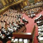 L'Aula del Senato durante l'esame della nota di aggiornamento del Def, Roma, 8 ottobre 2015.  ANSA/GIUSEPPE LAMI