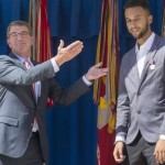 epa04935723 US Secretary of Defense Ashton Carter (L) awards civilian Anthony Sadler (R) the Department of Defense Medal of Valor for his role in disarming a gunman on a Paris-bound train on 21 August, at the Pentagon in Arlington, Virginia, USA, 17 September 2015. US Air Force Airman 1st Class Spencer Stone received the Airman's Medal and Purple Heart; US Army Specialist Alek Skarlatos received the Soldier's Medal; and Anthony Sadler received the Department of Defense Medal of Valor for their roles in disarming the gunman.  EPA/MICHAEL REYNOLDS