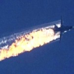A still image made available on 24 November 2015 from video footage shown by the HaberTurk TV Channel shows a burning trail as a plane comes down after being shot down near the Turkish-Syrian border, over north Syria, 24 November 2015. A Russian fighter jet was shot down 24 November over the Turkish-Syrian border, the Defence Ministry in Moscow said, according to Interfax news agency. The Sukhoi Su-24 was reportedly downed by Turkish forces, Turkish state news agency Anadolu reported, citing sources in the presidency. The report said that the jet violated Turkish airspace and ignored warnings. It crashed in the north-western Syrian town of Bayirbucak, Turkish security sources were quoted as saying.     ANSA/HABERTURK TV CHANNEL MANDATORY CREDIT: HABERTURK TV CHANNEL