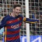 Barcelona's Lionel Messi, left, celebrates after scoring his team's 5th goal during the Group E Champions League soccer match between Barcelona and Roma at the Camp Nou stadium in Barcelona, Spain, Tuesday Nov. 24, 2015. (ANSA/AP Photo/Emilio Morenatti)