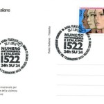 Il nuovo francobollo che Poste italiane ha annullato oggi  in occasione della Giornata internazionale contro la violenza sulle donne. Il francobollo sarà disponibile solo oggi presso gli Uffici filatelici di Genova, Milano, Napoli, Roma, Torino, Trieste e Venezia, 25 novembre 2015. ANSA