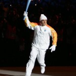 Former Italian ski champion Alberto Tomba runs the torch into the stadium during the opening ceremonies of the Turin 2006 Winter Olympic games at the Olympic Stadium in Turin, Friday 10 February 2006.  ANSA/SRDJAN SUKI