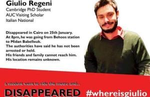 Un'immagine aggiornata di Giulio Regeni, lo studente friulano scomparso in Egitto, diffusa sui social network dagli amici che hanno avviato la campagna #whereisgiulio. 2 febbario 2006. ANSA/ TWITTER +++ NO SALES - EDITORIAL USE ONLY +++
