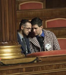 I due ragazzi in tribuna del Senato che secondo il senatore Carlo Giovanardi si sarebbero baciati durante la discussione sul ddl Cirinna' sulle unioni civili, Roma, 11 febbraio 2016. ANSA/GIORGIO ONORATI