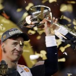 Denver Broncos Peyton Manning holds up the trophy after the NFL Super Bowl 50 football game Sunday, Feb. 7, 2016, in Santa Clara, Calif. The Broncos won 24-10. (ANSA/AP Photo/Matt York)