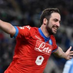 SSC Napoli 's Gonzalo Higuain celebrates after scoring the 0-1 goal during the Italian Serie A soccer match between SS Lazio and SSC Napoli at the Olimpico stadium in Rome, Italy, 03 February 2016.  ANSA/ETTORE FERRARI
