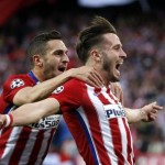 epaselect epa05280270 Atletico Madrid's player Saul Niguez (R) celebrates with Koke (L) after scoring the opening goal during the UEFA Champions League semifinal first leg soccer match between Atletico Madrid and Bayern Munich played at the Vicente Calderon stadium, in Madrid, Spain, 27 April 2016.  EPA/Juan Carlos Hidalgo