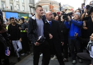 Leicester City's Jamie Vardy arrives at San Carlo Pizzeria for a celebratory lunch in Leicester, England Tuesday May 3, 2016. Leicester  clinched the most improbable title of the Premier League era when second-place Tottenham was held to a 2-2 draw at Chelsea on Monday night.  (Jonathan Brady/PA via AP)  UNITED KINGDOM OUT  NO SALES NO ARCHIVE