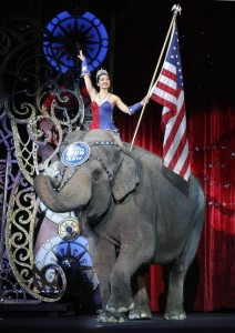 An Asian elephant performs during the national anthem for the final time in the Ringling Bros. and Barnum & Bailey Circus Sunday, May 1, 2016, in Providence, R.I. the The circus closes its own chapter on a controversial practice that has entertained audiences since circuses began in America two centuries ago. The animals will live at the Ringling Bros. 200-acre Center for Elephant Conservation in Florida. (ANSA/AP Photo/Bill Sikes) [CopyrightNotice: Copyright 2016 The Associated Press. All rights reserved. This material may not be published, broadcast, rewritten or redistribu]