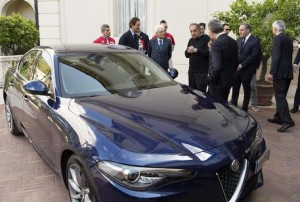 The handout picture released by the Quirinal Press Office shows Italian President Sergio Mattarella, Chairman of Fca, John Elkann, and CEO of Fca, Sergio Marchionne, during the presentation of the new Alfa Romeo Giulia in Rome, Italy, 05 May 2016. ANSA/ QUIRINAL PRESS OFFICE/ PAOLO GIANDOTTI +++ ANSA PROVIDES ACCESS TO THIS HANDOUT PHOTO TO BE USED SOLELY TO ILLUSTRATE NEWS REPORTING OR COMMENTARY ON THE FACTS OR EVENTS DEPICTED IN THIS IMAGE; NO ARCHIVING; NO LICENSING +++