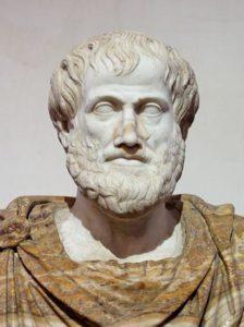 Ritratto di Aristotele, conservato a Palazzo Altaemps, Roma. Marmo, copia romana di un originale greco di Lisippo (330 a.C. ca.); il mantello in alabastro e' un'aggiunta moderna (collezione Ludovisi). ANSA +++NO SALES - EDITORIAL USE ONLY+++