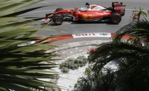 Ferrari driver Sebastian Vettel of Germany steers his car during the second free practice at the Monaco racetrack in Monaco, Thursday, May 26, 2016. The Formula one race will be held on Sunday. (ANSA/AP Photo/Claude Paris) [CopyrightNotice: Copyright 2016 The Associated Press. All rights reserved. This material may not be published, broadcast, rewritten or redistribu]