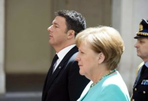A handout picture provided by Chigi Palace Press Office on 05 May shows the Prime Minister of Italy, Matteo Renzi, meeting with German Chancellor Angela Merkel, at Chigi Palace in Rome, Italy, 05 May 2016.  ANSA/TIBERIO BARCHIELLI / CHIGI PALACE PRESS OFFICE / HANDOUT USE ONLY IN CONNECTION WITH CURRENT STORY HANDOUT EDITORIAL USE ONLY/NO SALES
