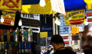 epa05388203 A news ticker in Times Square shows a headline about the 'Brexit' referendum passed in the United Kingdom to leave the European Union in New York, New York, USA, 24 June 2016. Markets were in turmoil over the outcome of 23 June's referendum in Britain on a so-called Brexit with approx 52 percent of the votes in favour to leave the EU.  EPA/JUSTIN LANE