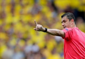 epa05372489 Referee Viktor Kassai of Hungary in action during the UEFA EURO 2016 group E preliminary round match between Italy and Sweden at Stade Municipal in Toulouse, France, 17 June 2016.  (RESTRICTIONS APPLY: For editorial news reporting purposes only. Not used for commercial or marketing purposes without prior written approval of UEFA. Images must appear as still images and must not emulate match action video footage. Photographs published in online publications (whether via the Internet or otherwise) shall have an interval of at least 20 seconds between the posting.)  EPA/ARMANDO BABANI   EDITORIAL USE ONLY  EPA/ARMANDO BABANI   EDITORIAL USE ONLY  EDITORIAL USE ONLY
