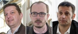 epa05397861 A coimposite picture made of file pictures shows defendants Raphael Halet (L-R), Antoine Deltour, and Edouard Perrin as they arrive for another day of the so-called LuxLeaks Whistleblower trial, in Luxembourg, 04 May 2016. The court on 29 June 2016 handed suspended sentences to Deltour and Halet while Perrin was acquitted of all charges. The three men, two former employees of accounting firm PricewaterhouseCoopers (PwC) and a journalist, were on trial for leaking thousands of confidential documents revealing corporate tax deals.  EPA/JULIEN WARNAND