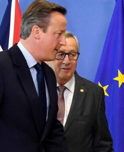 European Commission President Jean-Claude Juncker, right, walks with British Prime Minister David Cameron prior to a meeting at EU headquarters in Brussels on Tuesday, June 28, 2016. EU heads of state and government meet Tuesday and Wednesday in Brussels for the first time since Britain voted to leave the European Union, throwing British and European politics into disarray. (ANSA/AP Photo/Geert Vanden Wijngaert)