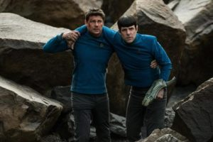 """In this image released by Paramount Pictures, Karl Urban portrays Bones, left, and Zachary Quinto portrays Spock in a scene from """"Star Trek Beyond."""" This week's Comic Con  extravaganza is expected to draw more than 160,000 fans for high-energy sessions featuring casts and crews from such films and TV shows as """"Game of Thrones,"""" """"Star Trek,"""" """"Suicide Squad,"""" """"South Park,"""" """"Teen Wolf,"""" """"Aliens"""" and """"The Walking Dead."""" (Kimberley French/Paramount Pictures via AP)"""