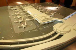 Il plastico del molo C dell'aeroporto di Fiumicino.  ANSA/ TELENEWS